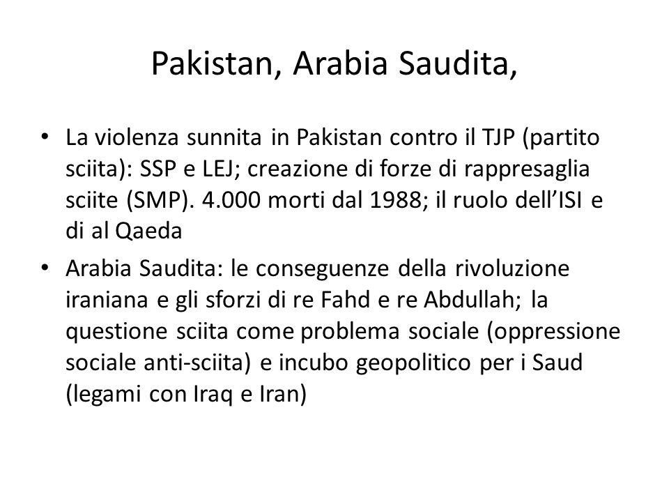 Pakistan, Arabia Saudita, La violenza sunnita in Pakistan contro il TJP (partito sciita): SSP e LEJ; creazione di forze di rappresaglia sciite (SMP).