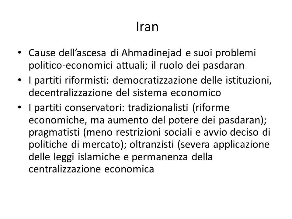 Iran Cause dellascesa di Ahmadinejad e suoi problemi politico-economici attuali; il ruolo dei pasdaran I partiti riformisti: democratizzazione delle i