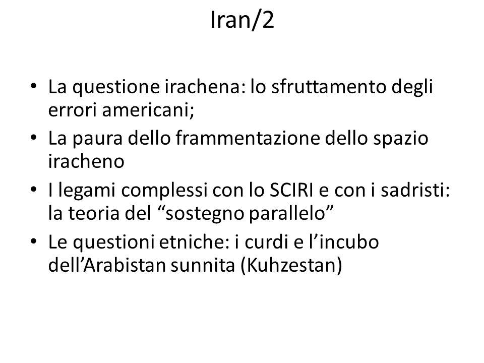 Iran/2 La questione irachena: lo sfruttamento degli errori americani; La paura dello frammentazione dello spazio iracheno I legami complessi con lo SC