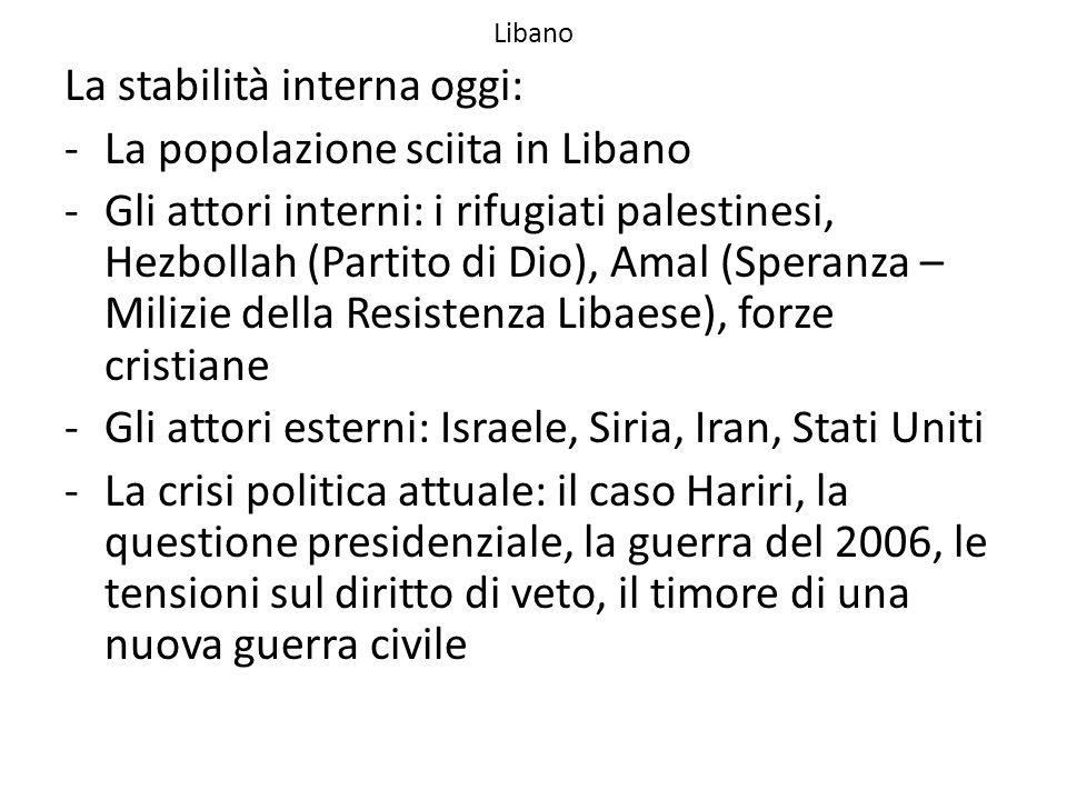 Libano La stabilità interna oggi: -La popolazione sciita in Libano -Gli attori interni: i rifugiati palestinesi, Hezbollah (Partito di Dio), Amal (Spe