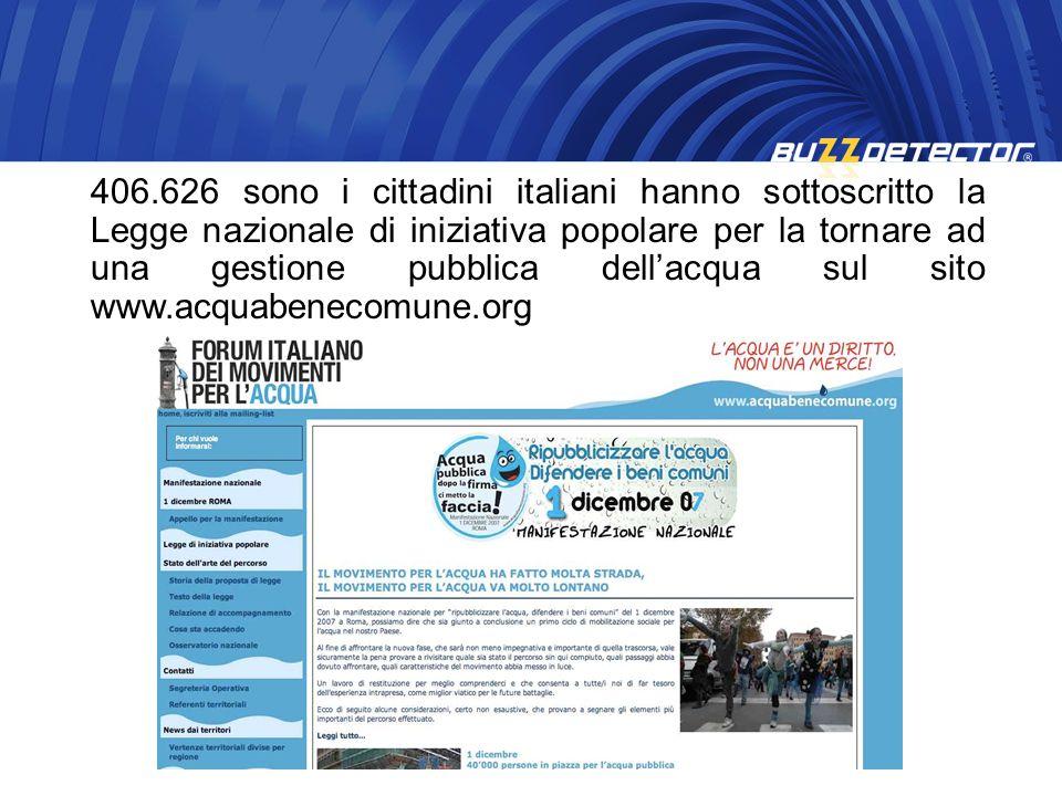 406.626 sono i cittadini italiani hanno sottoscritto la Legge nazionale di iniziativa popolare per la tornare ad una gestione pubblica dellacqua sul s