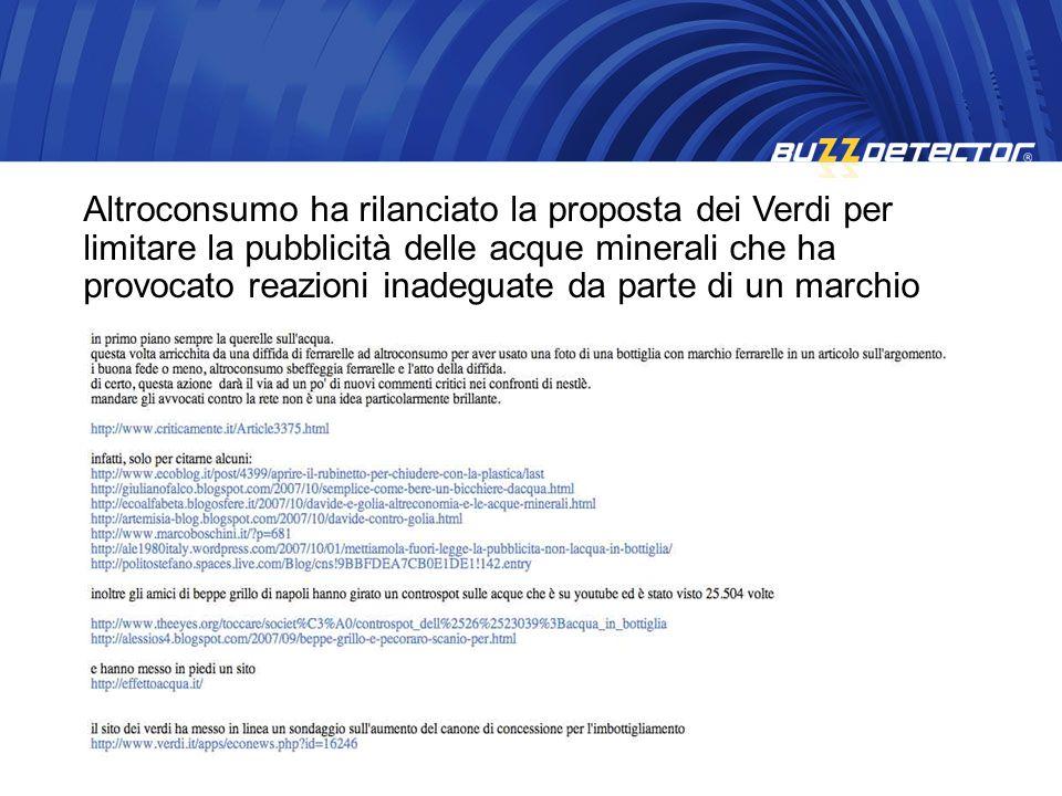 Altroconsumo ha rilanciato la proposta dei Verdi per limitare la pubblicità delle acque minerali che ha provocato reazioni inadeguate da parte di un m
