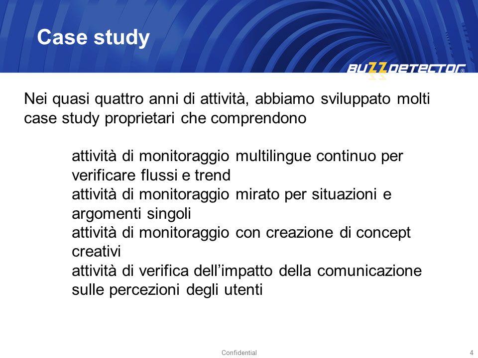 Confidential4 4 Case study Nei quasi quattro anni di attività, abbiamo sviluppato molti case study proprietari che comprendono attività di monitoraggi