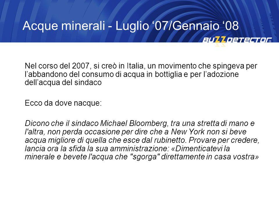 Nel corso del 2007, si creò in Italia, un movimento che spingeva per labbandono del consumo di acqua in bottiglia e per ladozione dellacqua del sindac
