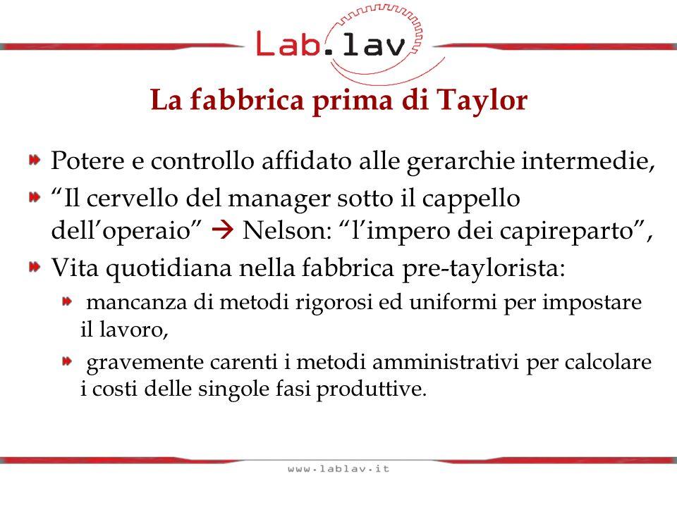 La fabbrica prima di Taylor Potere e controllo affidato alle gerarchie intermedie, Il cervello del manager sotto il cappello delloperaio Nelson: limpe