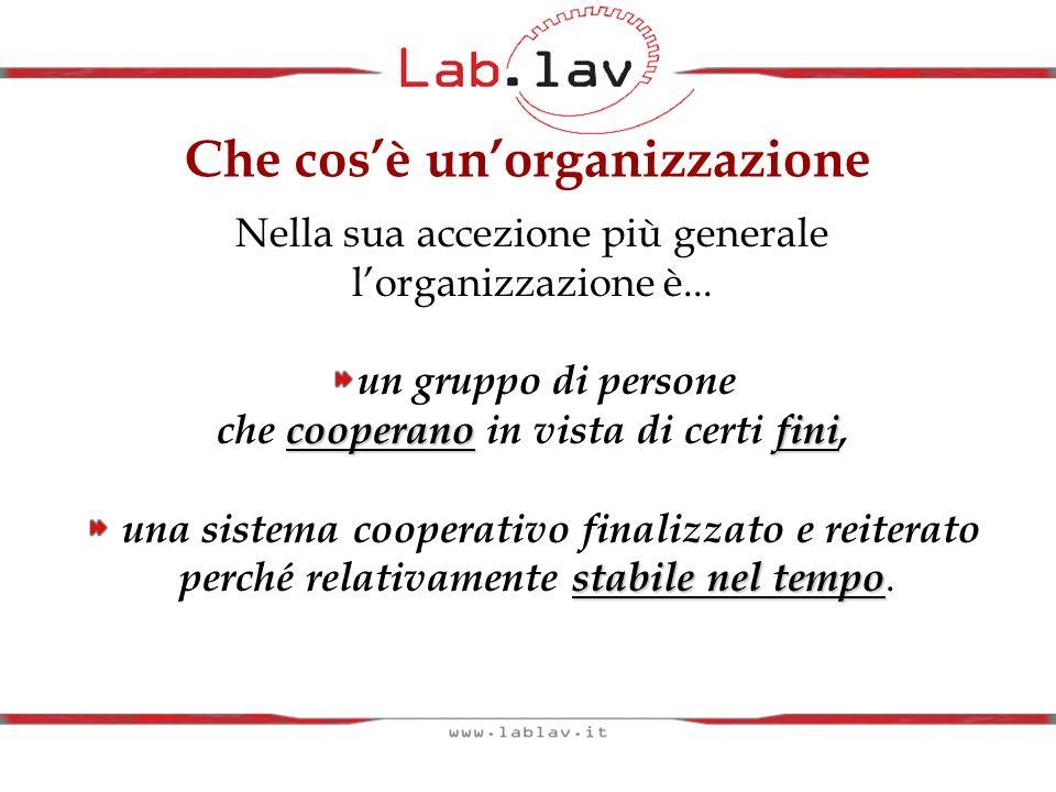 Le parole chiave dellorganizzazione Cooperazione finalizzata Differenziazione/integrazione Organizzazione/azione organizzata (struttura/processo) Fini degli individui/fini delle organizzazioni Gerarchia dei fini Strategia/struttura Ma ogni organizzazione ha una sua individualità e per analizzarle è necessario avere delle tipologie di riferimento