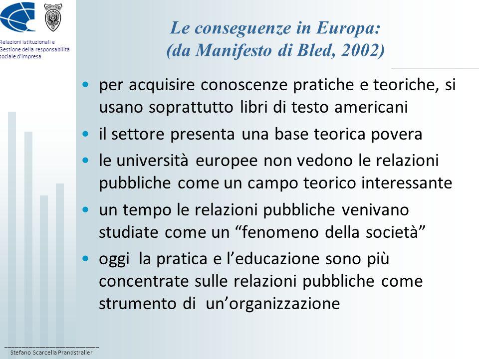 ____________________________ Stefano Scarcella Prandstraller Relazioni istituzionali e Gestione della responsabilità sociale dimpresa Le conseguenze i