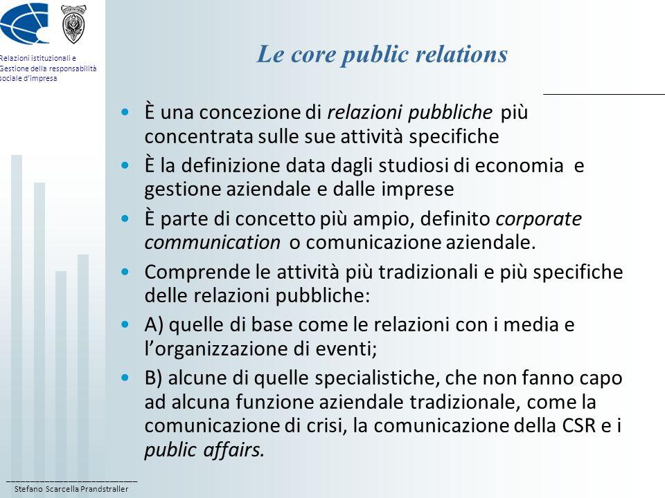 ____________________________ Stefano Scarcella Prandstraller Relazioni istituzionali e Gestione della responsabilità sociale dimpresa Le core public r