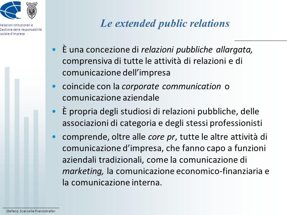 ____________________________ Stefano Scarcella Prandstraller Relazioni istituzionali e Gestione della responsabilità sociale dimpresa Le extended publ