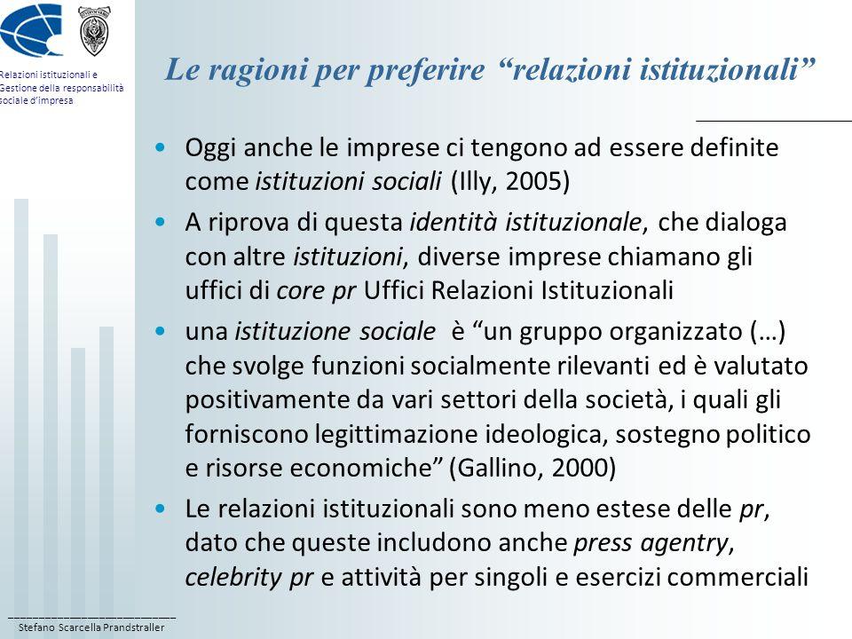 ____________________________ Stefano Scarcella Prandstraller Relazioni istituzionali e Gestione della responsabilità sociale dimpresa Le ragioni per p