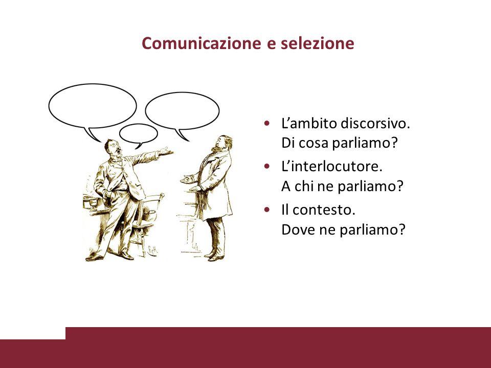Comunicazione e selezione Lambito discorsivo. Di cosa parliamo.