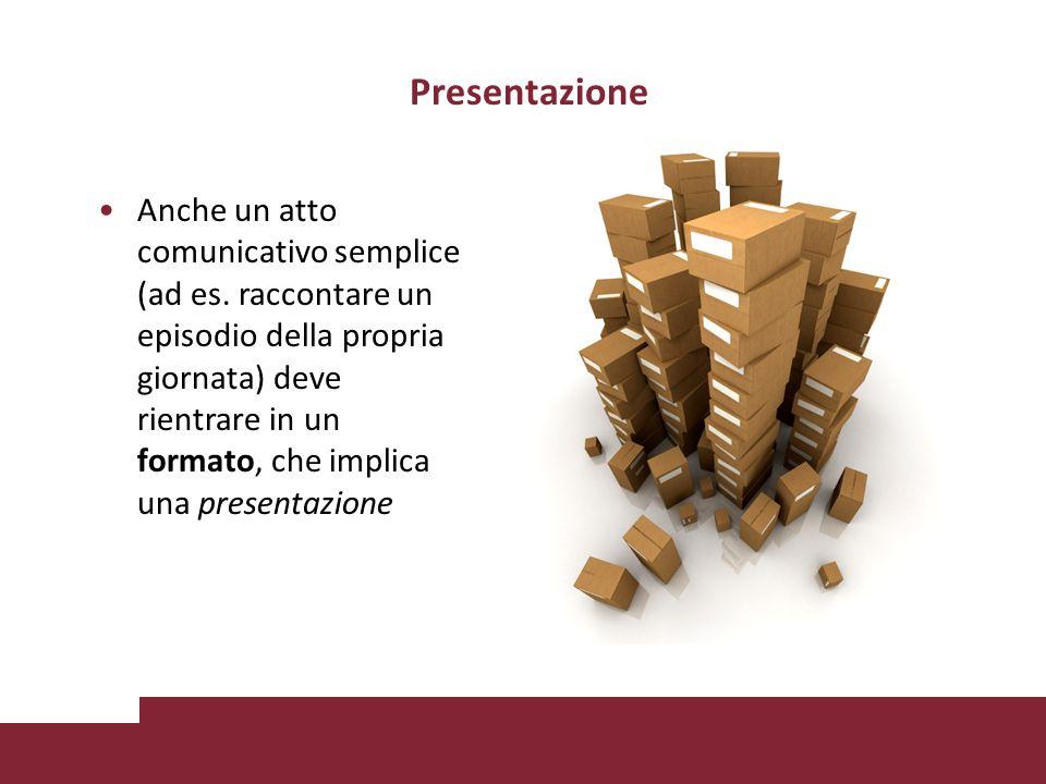 Presentazione Anche un atto comunicativo semplice (ad es.
