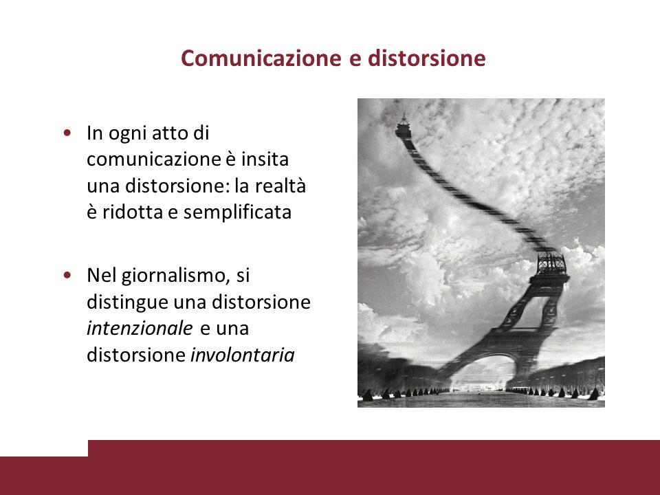 Comunicazione e distorsione In ogni atto di comunicazione è insita una distorsione: la realtà è ridotta e semplificata Nel giornalismo, si distingue una distorsione intenzionale e una distorsione involontaria