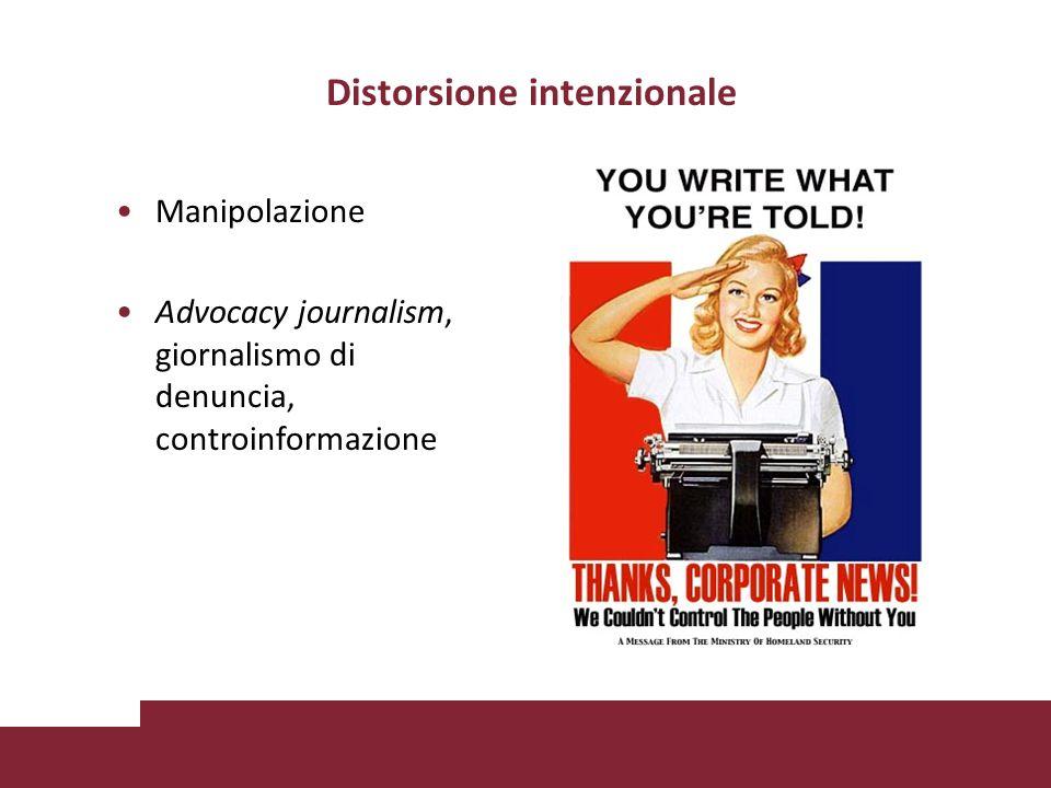 Distorsione intenzionale Manipolazione Advocacy journalism, giornalismo di denuncia, controinformazione