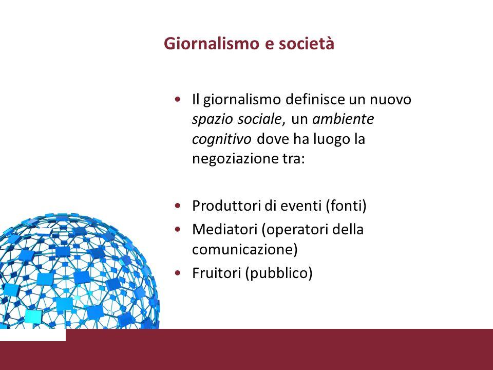 Giornalismo e società Il giornalismo definisce un nuovo spazio sociale, un ambiente cognitivo dove ha luogo la negoziazione tra: Produttori di eventi (fonti) Mediatori (operatori della comunicazione) Fruitori (pubblico)