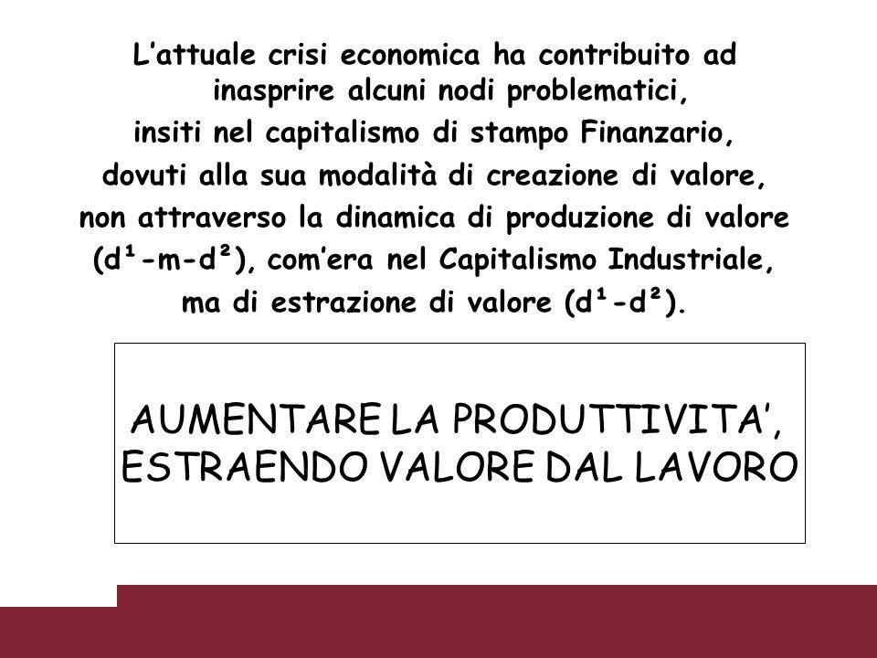Lattuale crisi economica ha contribuito ad inasprire alcuni nodi problematici, insiti nel capitalismo di stampo Finanzario, dovuti alla sua modalità d