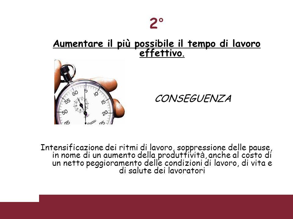 Aumentare il più possibile il tempo di lavoro effettivo. CONSEGUENZA Intensificazione dei ritmi di lavoro, soppressione delle pause, in nome di un aum