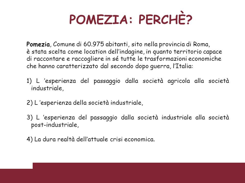 POMEZIA: PERCHÈ? Pomezia, Comune di 60.975 abitanti, sito nella provincia di Roma, è stata scelta come location dellindagine, in quanto territorio cap