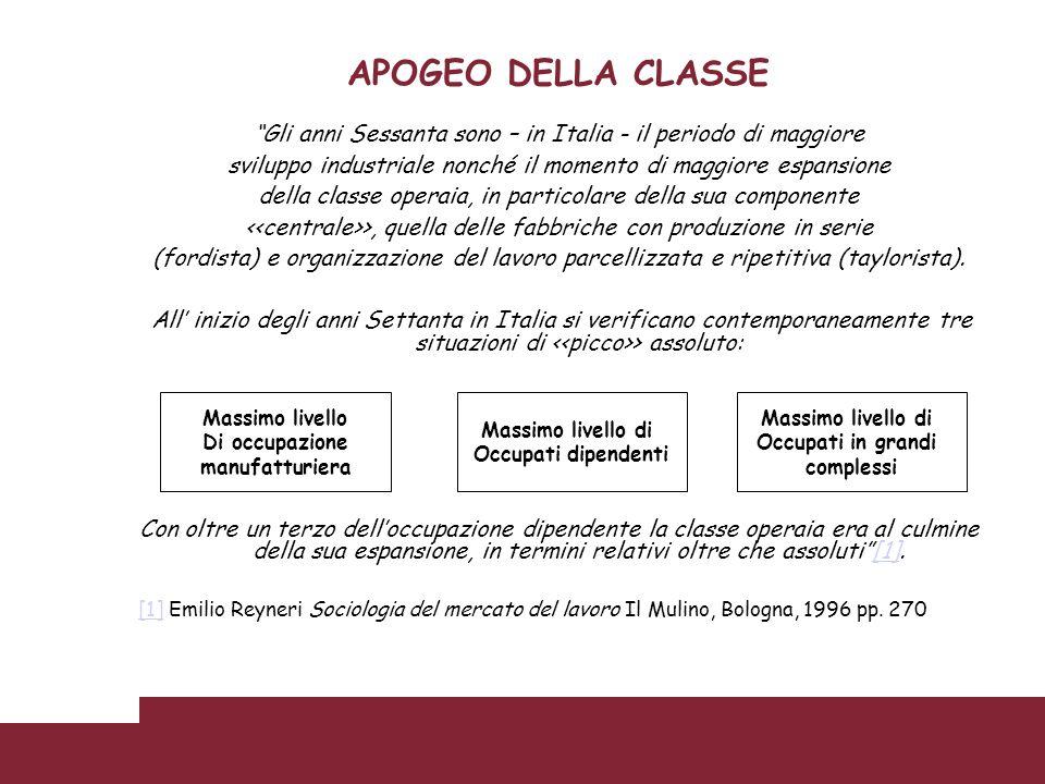 APOGEO DELLA CLASSE Gli anni Sessanta sono – in Italia - il periodo di maggiore sviluppo industriale nonché il momento di maggiore espansione della cl