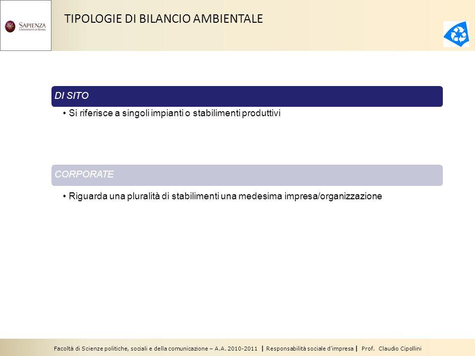 Facoltà di Scienze politiche, sociali e della comunicazione – A.A. 2010-2011 | Responsabilità sociale dimpresa | Prof. Claudio Cipollini TIPOLOGIE DI