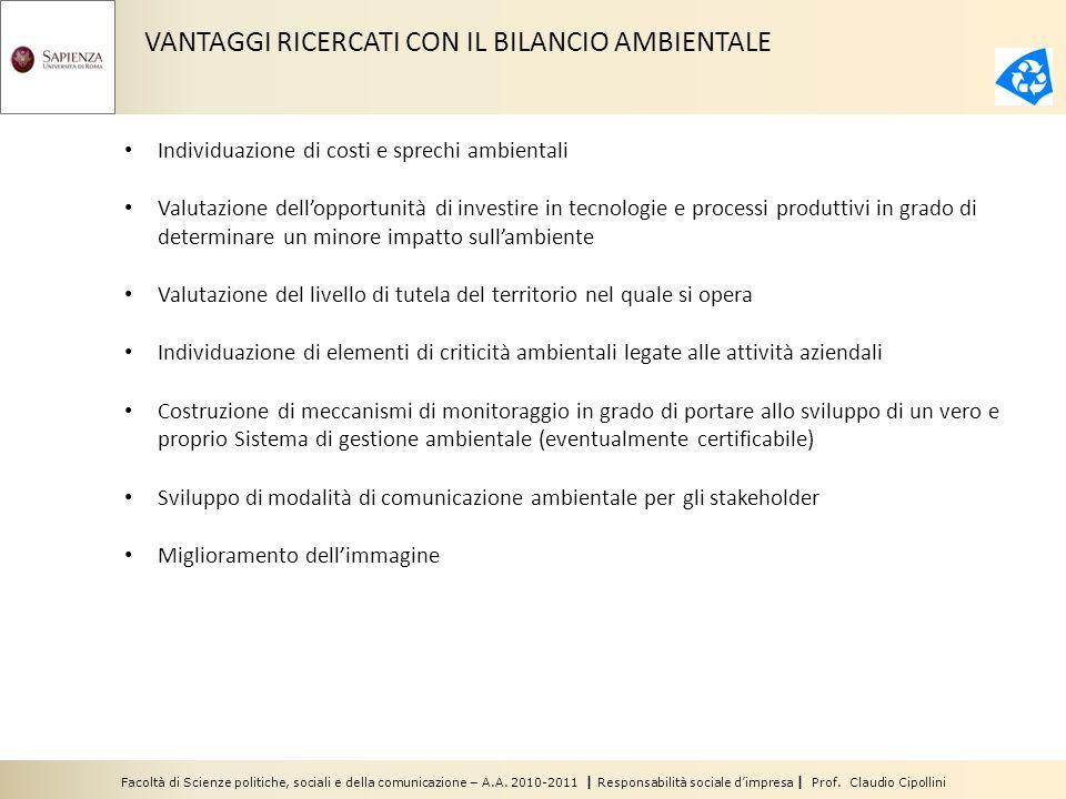 Facoltà di Scienze politiche, sociali e della comunicazione – A.A. 2010-2011 | Responsabilità sociale dimpresa | Prof. Claudio Cipollini VANTAGGI RICE