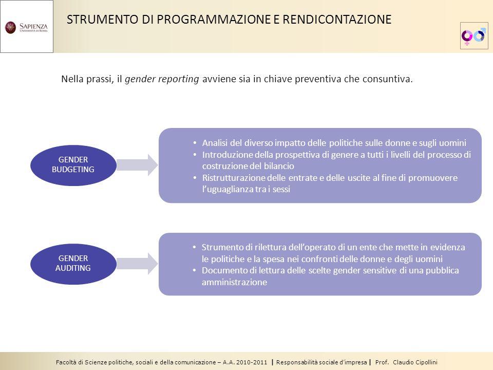 Facoltà di Scienze politiche, sociali e della comunicazione – A.A. 2010-2011 | Responsabilità sociale dimpresa | Prof. Claudio Cipollini Analisi del d