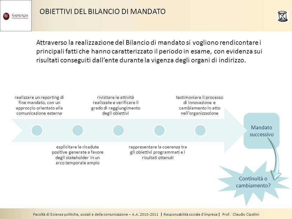 Facoltà di Scienze politiche, sociali e della comunicazione – A.A. 2010-2011 | Responsabilità sociale dimpresa | Prof. Claudio Cipollini Mandato succe