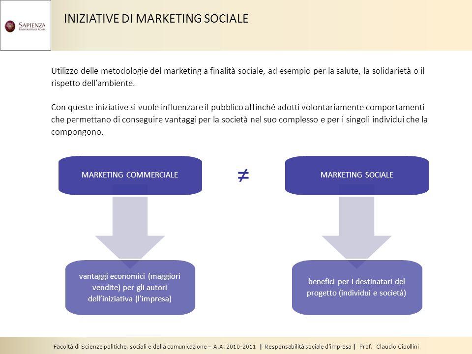 INIZIATIVE DI MARKETING SOCIALE Utilizzo delle metodologie del marketing a finalità sociale, ad esempio per la salute, la solidarietà o il rispetto dellambiente.