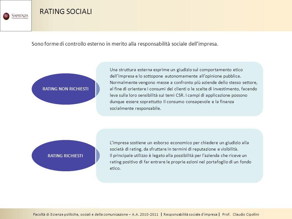 RATING SOCIALI Sono forme di controllo esterno in merito alla responsabilità sociale dellimpresa. RATING NON RICHIESTI RATING RICHIESTI Limpresa sosti