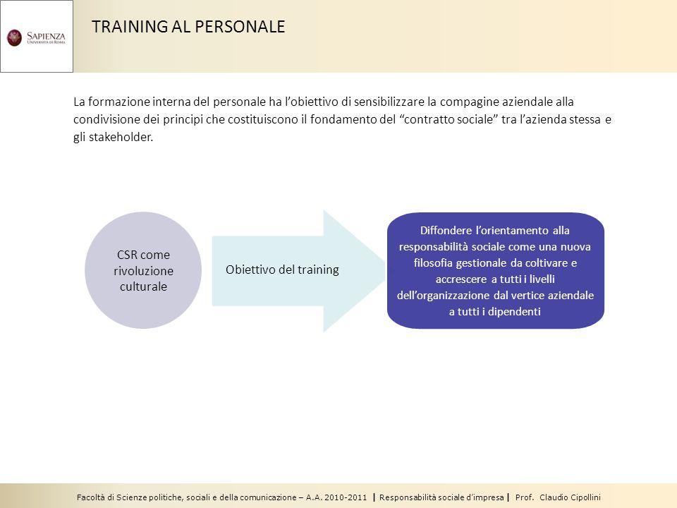 Facoltà di Scienze politiche, sociali e della comunicazione – A.A. 2010-2011 | Responsabilità sociale dimpresa | Prof. Claudio Cipollini TRAINING AL P