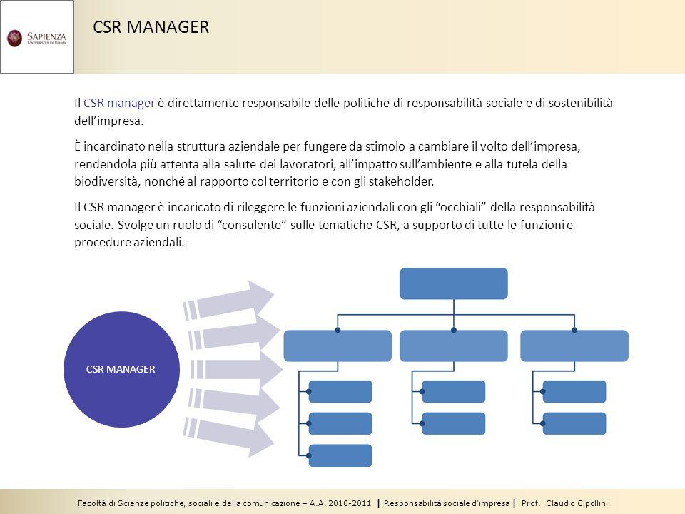 Facoltà di Scienze politiche, sociali e della comunicazione – A.A. 2010-2011 | Responsabilità sociale dimpresa | Prof. Claudio Cipollini Il CSR manage