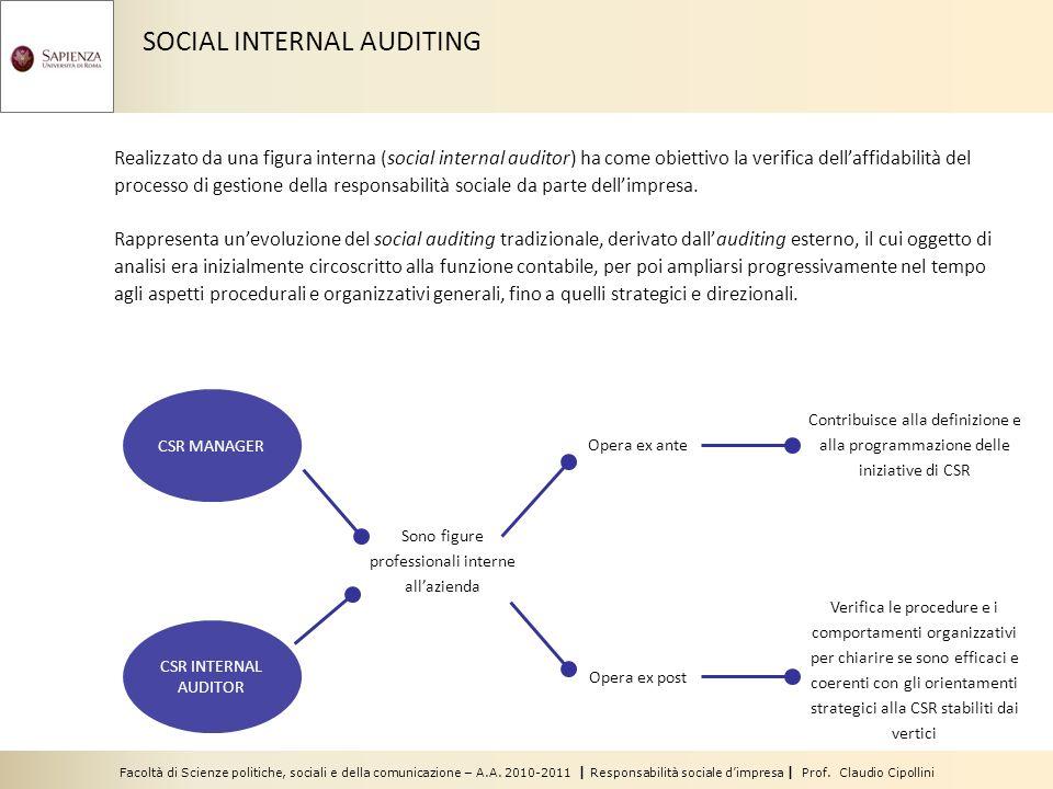 Facoltà di Scienze politiche, sociali e della comunicazione – A.A. 2010-2011 | Responsabilità sociale dimpresa | Prof. Claudio Cipollini SOCIAL INTERN