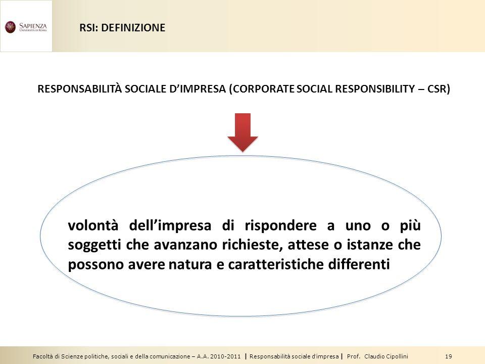 Facoltà di Scienze politiche, sociali e della comunicazione – A.A. 2010-2011 | Responsabilità sociale dimpresa | Prof. Claudio Cipollini 19 RESPONSABI
