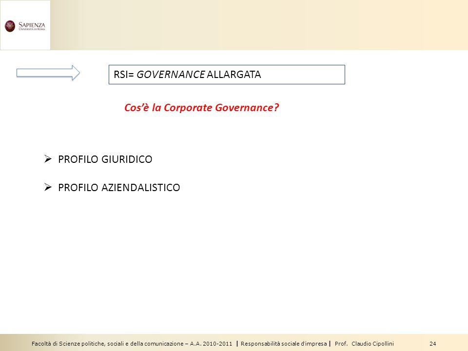 Facoltà di Scienze politiche, sociali e della comunicazione – A.A. 2010-2011 | Responsabilità sociale dimpresa | Prof. Claudio Cipollini 24 PROFILO GI