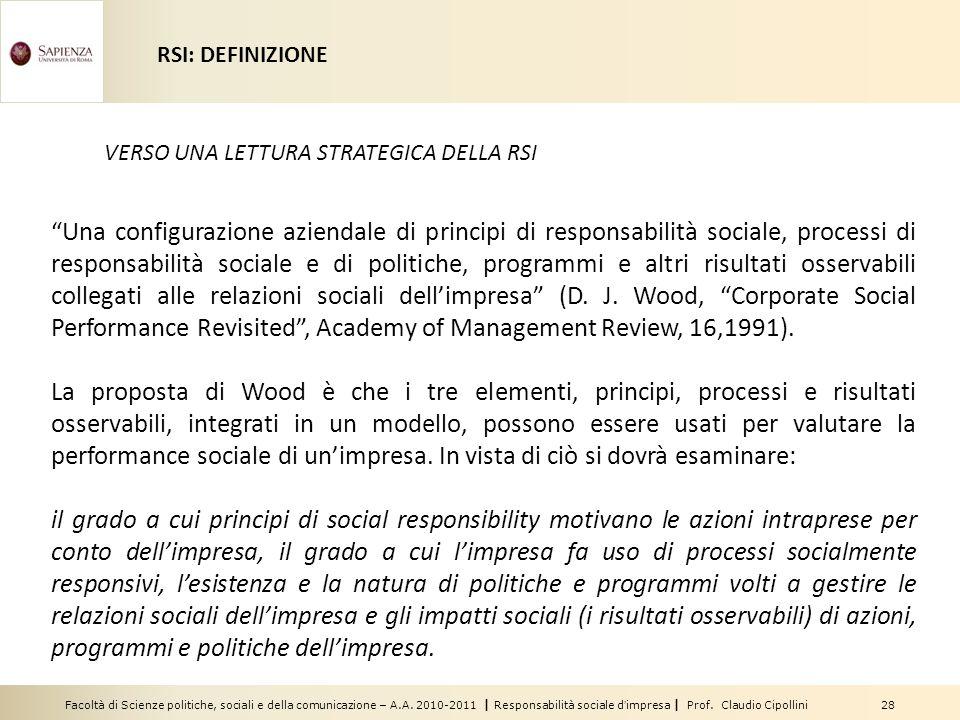 Facoltà di Scienze politiche, sociali e della comunicazione – A.A. 2010-2011 | Responsabilità sociale dimpresa | Prof. Claudio Cipollini 28 Una config