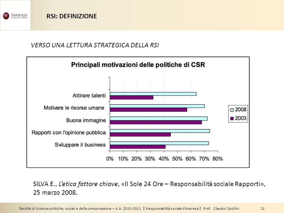 Facoltà di Scienze politiche, sociali e della comunicazione – A.A. 2010-2011 | Responsabilità sociale dimpresa | Prof. Claudio Cipollini 31 VERSO UNA