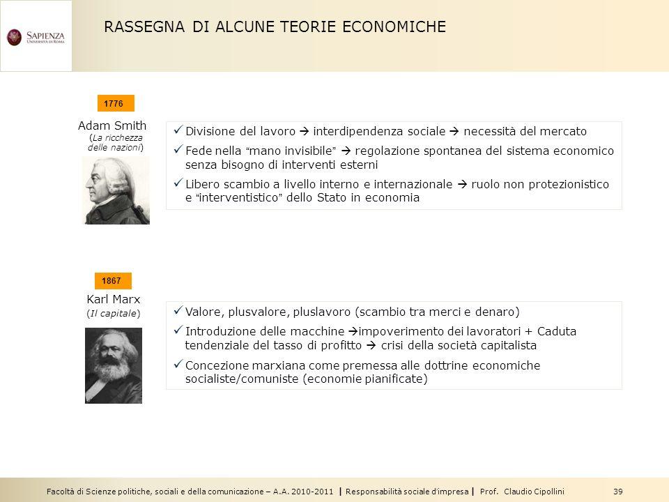 Facoltà di Scienze politiche, sociali e della comunicazione – A.A. 2010-2011 | Responsabilità sociale dimpresa | Prof. Claudio Cipollini 39 RASSEGNA D