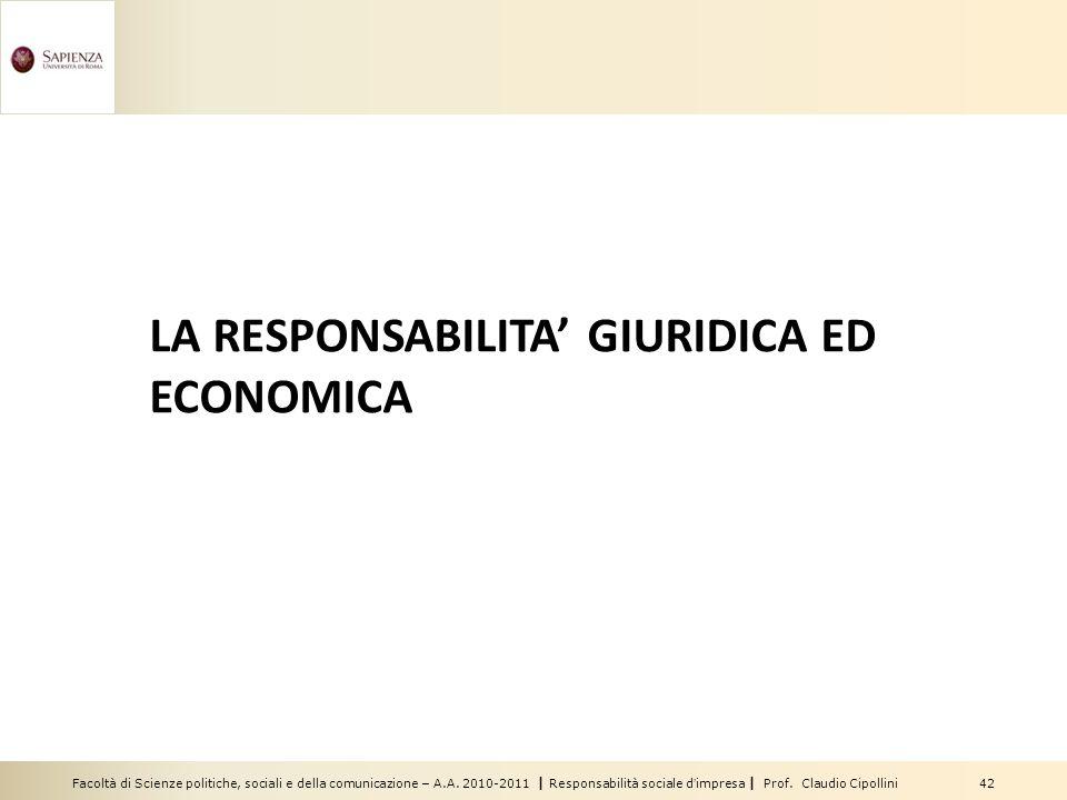 Facoltà di Scienze politiche, sociali e della comunicazione – A.A. 2010-2011 | Responsabilità sociale dimpresa | Prof. Claudio Cipollini 42 LA RESPONS