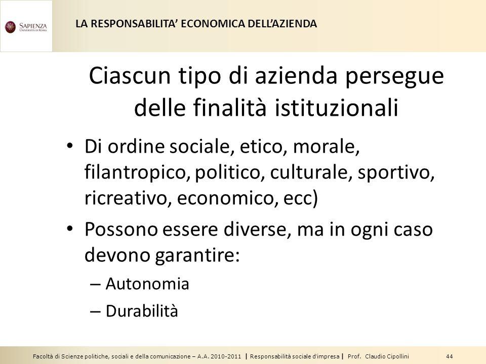 Facoltà di Scienze politiche, sociali e della comunicazione – A.A. 2010-2011 | Responsabilità sociale dimpresa | Prof. Claudio Cipollini 44 Ciascun ti
