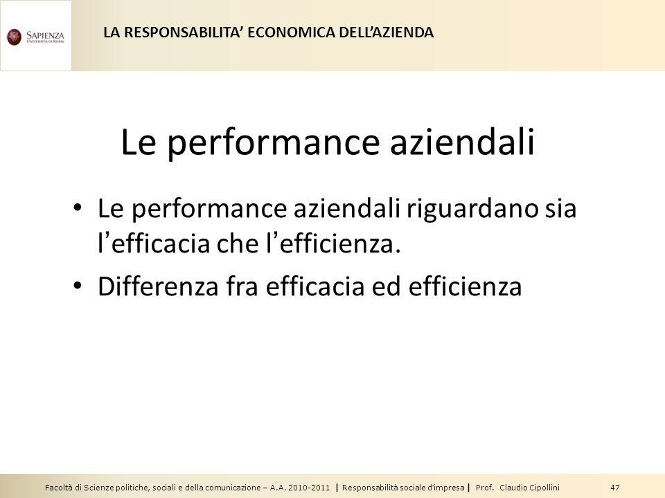 Facoltà di Scienze politiche, sociali e della comunicazione – A.A. 2010-2011 | Responsabilità sociale dimpresa | Prof. Claudio Cipollini 47 Le perform