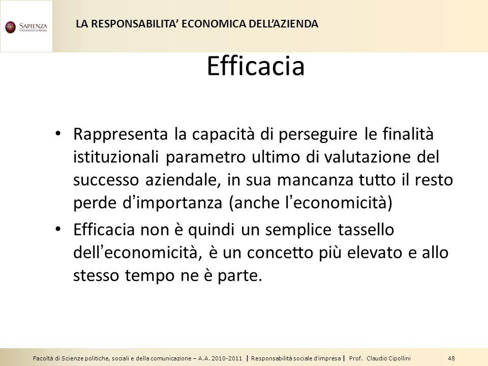 Facoltà di Scienze politiche, sociali e della comunicazione – A.A. 2010-2011 | Responsabilità sociale dimpresa | Prof. Claudio Cipollini 48 Efficacia