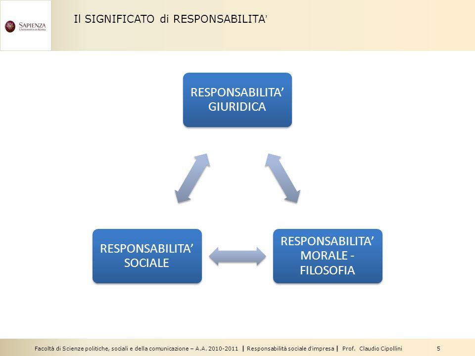 Facoltà di Scienze politiche, sociali e della comunicazione – A.A. 2010-2011 | Responsabilità sociale dimpresa | Prof. Claudio Cipollini 5 Il SIGNIFIC