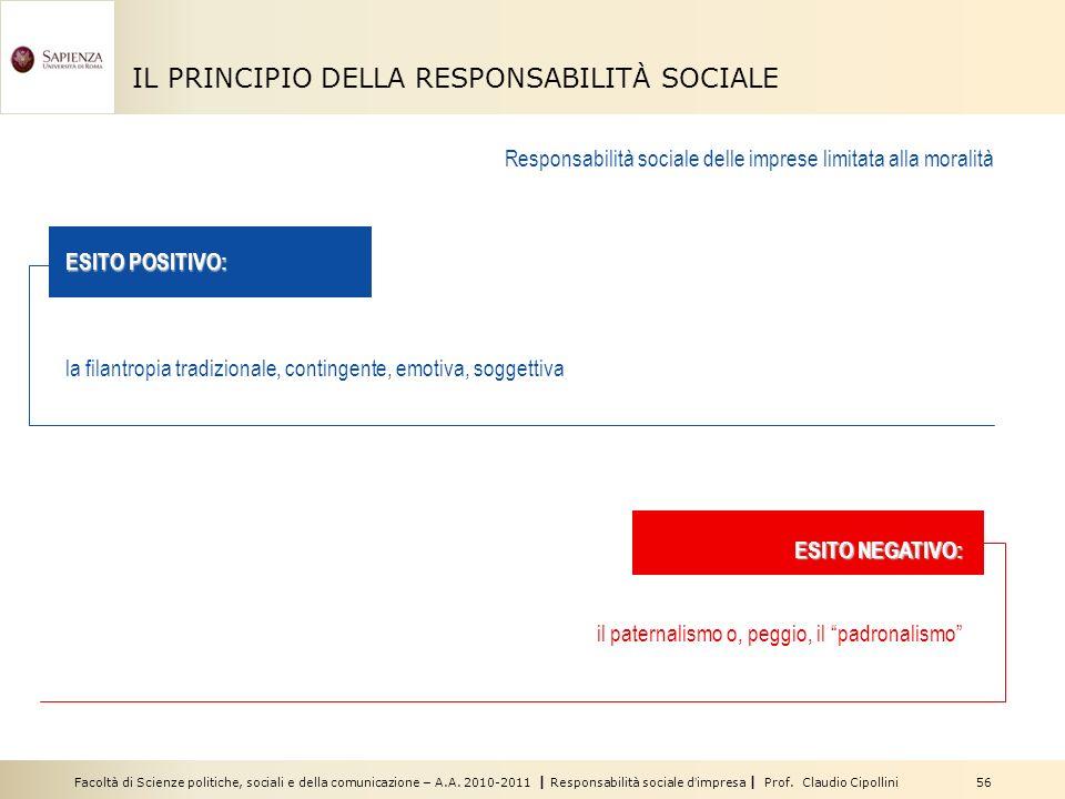 Facoltà di Scienze politiche, sociali e della comunicazione – A.A. 2010-2011 | Responsabilità sociale dimpresa | Prof. Claudio Cipollini 56 IL PRINCIP