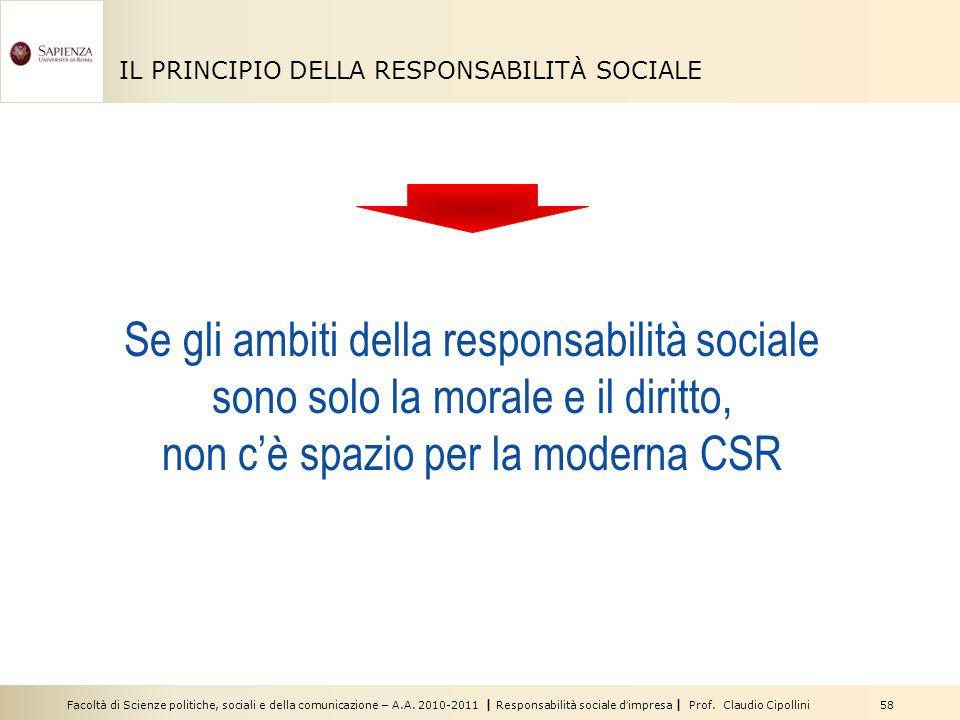 Facoltà di Scienze politiche, sociali e della comunicazione – A.A. 2010-2011 | Responsabilità sociale dimpresa | Prof. Claudio Cipollini 58 IL PRINCIP