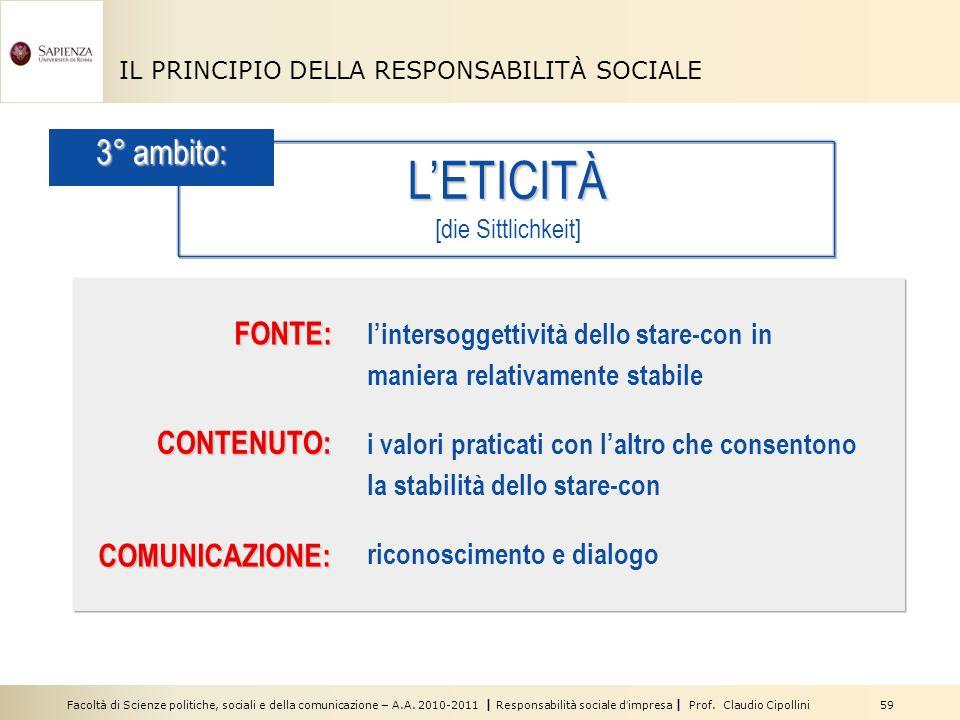 Facoltà di Scienze politiche, sociali e della comunicazione – A.A. 2010-2011 | Responsabilità sociale dimpresa | Prof. Claudio Cipollini 59 IL PRINCIP