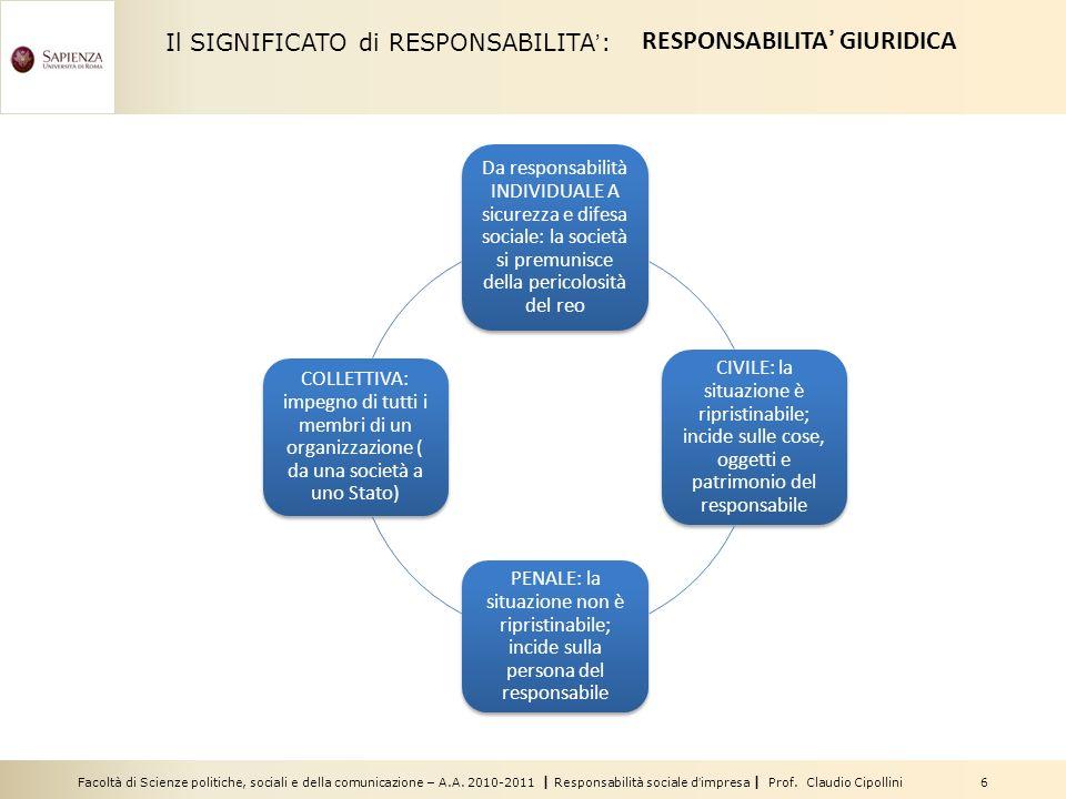 Facoltà di Scienze politiche, sociali e della comunicazione – A.A. 2010-2011 | Responsabilità sociale dimpresa | Prof. Claudio Cipollini 6 Il SIGNIFIC
