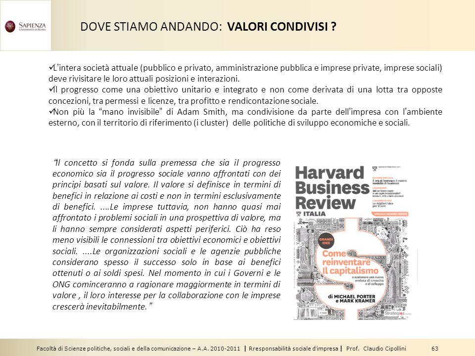 Facoltà di Scienze politiche, sociali e della comunicazione – A.A. 2010-2011 | Rresponsabilità sociale dimpresa | Prof. Claudio Cipollini 63 DOVE STIA