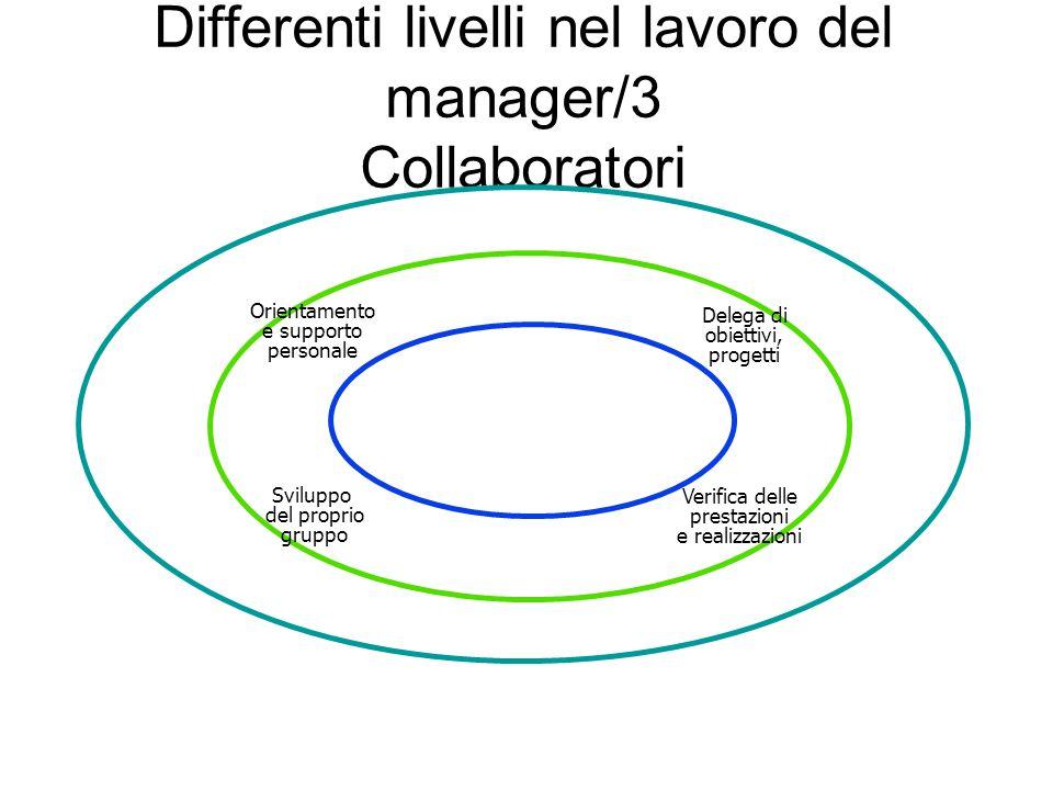 Differenti livelli nel lavoro del manager/3 Collaboratori Verifica delle prestazioni e realizzazioni Sviluppo del proprio gruppo Orientamento e suppor