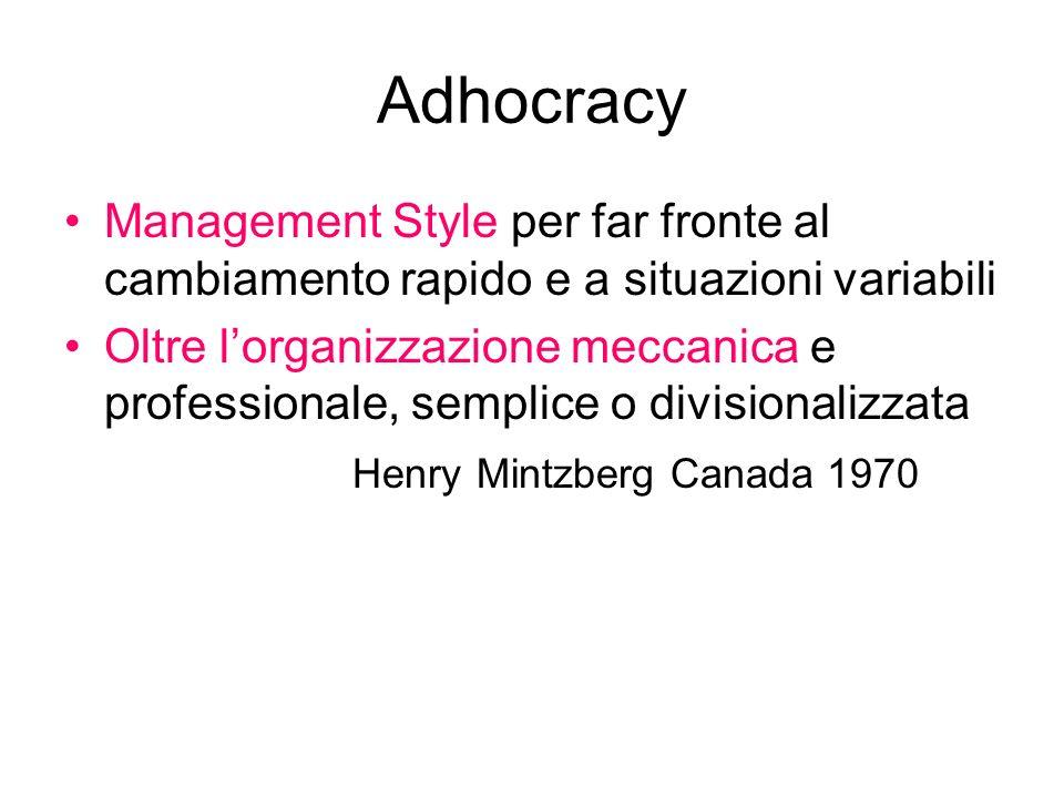 Adhocracy Management Style per far fronte al cambiamento rapido e a situazioni variabili Oltre lorganizzazione meccanica e professionale, semplice o d