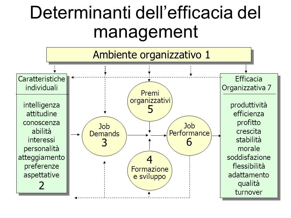 Determinanti dellefficacia del management Ambiente organizzativo1 Caratteristiche individuali intelligenza attitudine conoscenza abilità interessi per